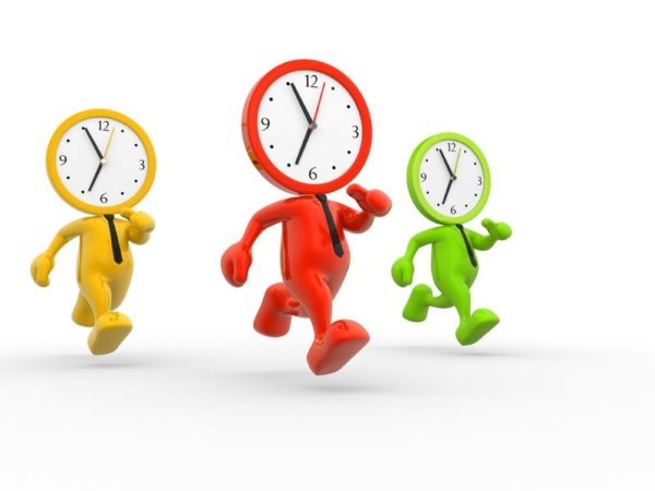 15588232 - 3d people - men, person running out of time. a clock